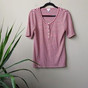 J. Crew Red White Striped Henley Button Shirt sz M